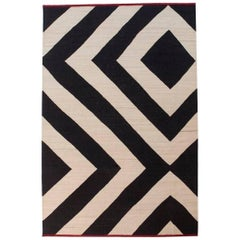Hand-Spun Nanimarquina Melange Zoom Rug in Black & White Stripes by Sybilla, Ex