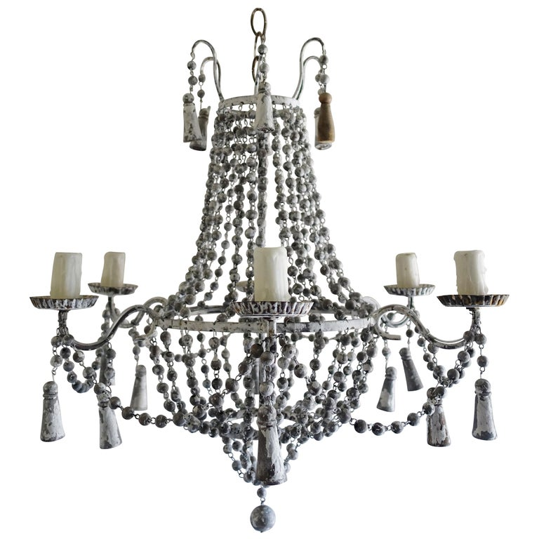 Italian Six-Light Painted Wood Beaded Chandelier