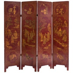 Red Japanese Lacquer Four-Panels Folding Screen, Meiji Period, 1868-1912