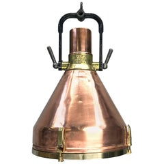 Midcentury Large Industrial German Copper, Brass, Cast Iron Gantry Pendant Lamp