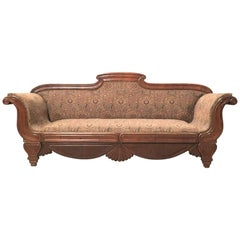 French Carved Walnut Bench, Sofa, Daybed Upholstered in Original Damask