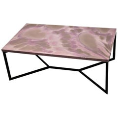"Contemporary Resin Coffee Table ""Shy Hortensia"" on Black Satin Steel Base"
