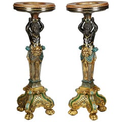 Pair of 19th Century Venetian Blackamoor Torchas