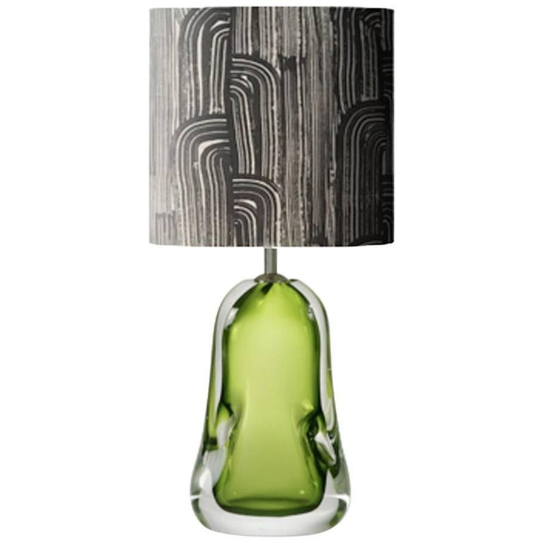 Contemporary Green Blown Glass Table Lamp and Black and White Lamp Shade