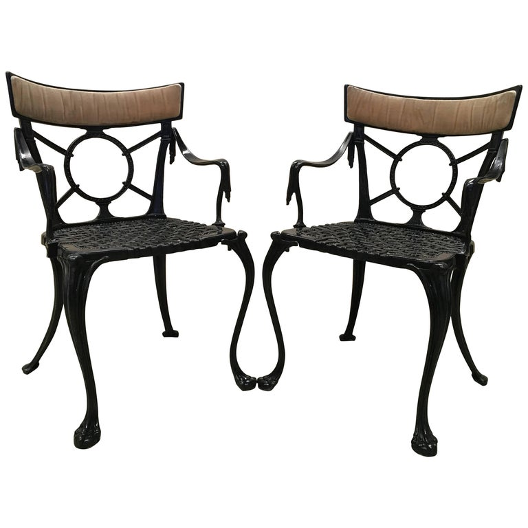 19th Century Pair of Antique French Cast Iron Garden Chairs in Black