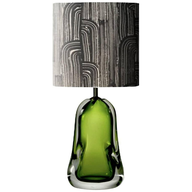 Contemporary Dark Green Blown Glass Table Lamp and Black and White Lamp Shade