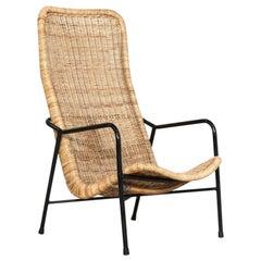 Dirk Van Sliedregt Rattan Easy Chair Model 514A Designed 1952