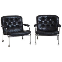 1960s Pair of Leather Armchairs in Steel, Probably by Bruno Mathsson