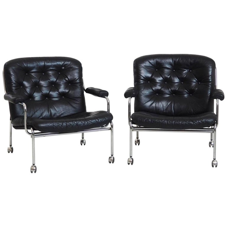 1960s Pair of Leather Armchairs in Steel, Probably by Bruno Mathsson For Sale