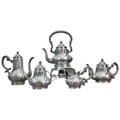 Mantovani 19th Century Silver Rococo Italian Tea Set with Samovar, 1880s