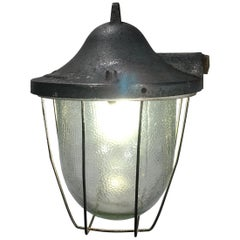 Small Industrial Bunker Lamp with Frosted Glass, 1960s
