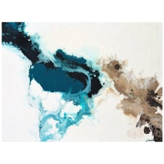 "Contemporary Abstract Resin Painting on Canvas ""Snowy Lake on the Desert"""