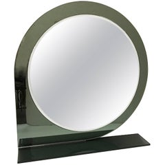 Italian 1970s Mod Style Grey and Clear Glass Round Mirror