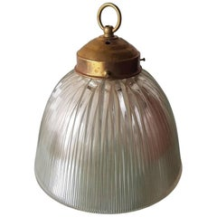 French Holophane Pendant with Brass Fixture, 20th Century