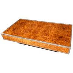 Splendid Burl Maple and Chrome Coffee Table Attributed to Milo Baughman