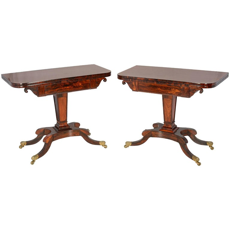 Pair of Regency Period Rosewood Card Tables For Sale
