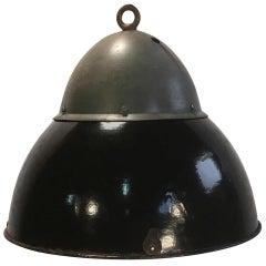 Vintage Black Enameled Hanging Lamp