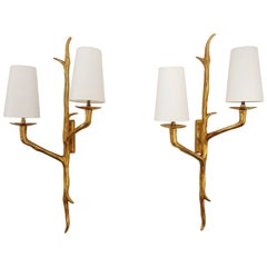 Pair of Bronze Wall Sconces by Maison Arlus, France, 1950s