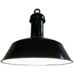 Vintage Black Industrial Pendant Light, 1930s