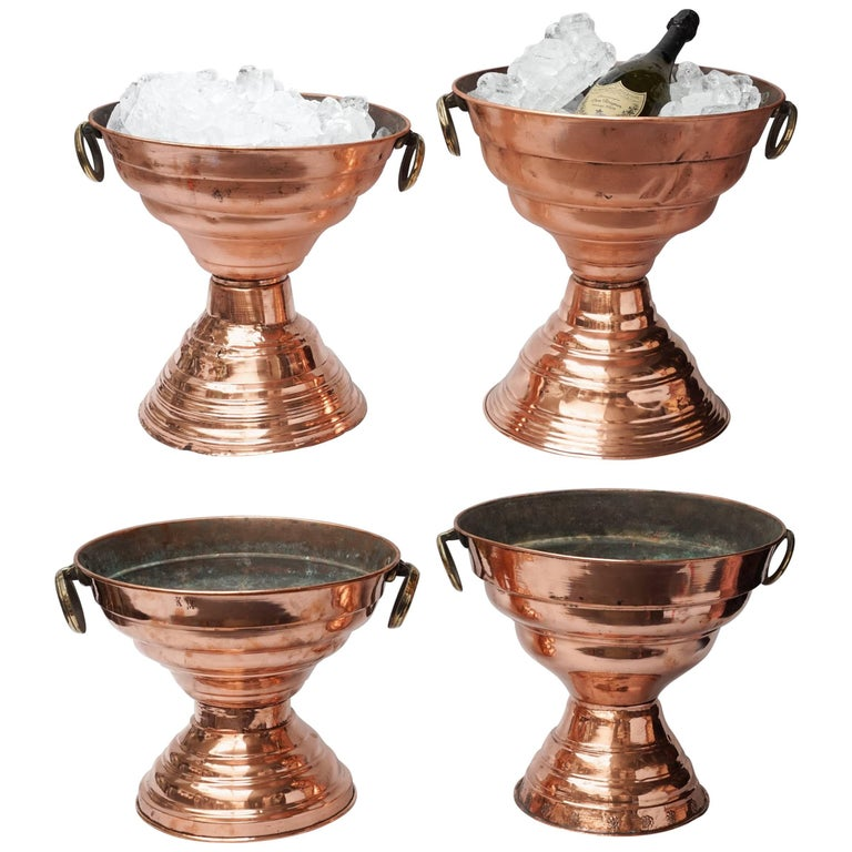 19th Century Set of Four Large Copper Tazza Coolers