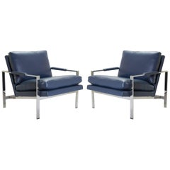 Flat-Bar Club Chairs in Navy Leather by Milo Baughman for Thayer Coggin
