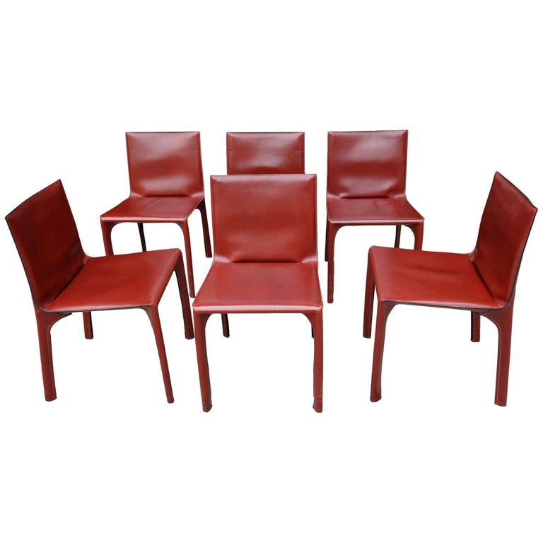Midcentury Set of Six Leather Dining Chairs