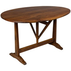 19th Century French Tilt-Top Oval Table or Wine Tasting Table