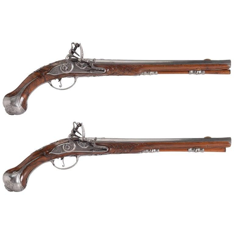 Pair of Flintlock Pistols by 'Oger Leblan'