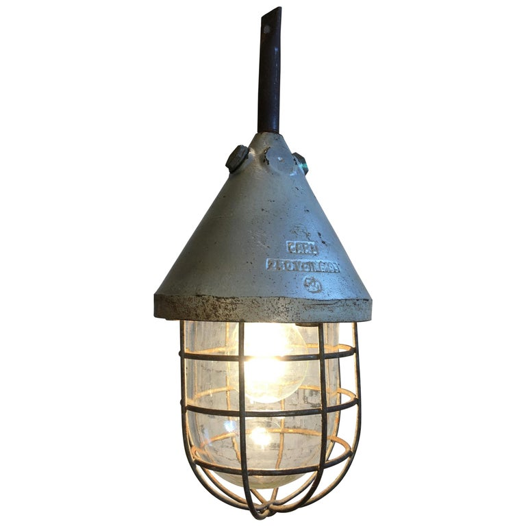 Industrial Caged Bunker Lamp, 1960s