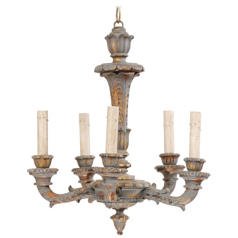 French 5-Light Painted and Carved Wood Chandelier in Grey-Blue with Gold Accents