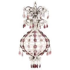 Delightful Balloon-Shaped Mid-20th Century Petite Crystal Chandelier Pendant