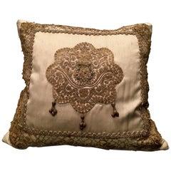 Antique Venetian Embroidery Pillow by Eleganza Italiana