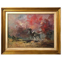 20th Century Italian Oil on Canvas Painting Depicting Horses by Norberto Martini