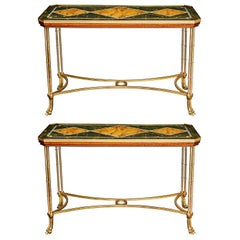 Pair of Antique French Louis XVI Style Gilt Bronze Side or Console Tables
