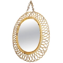 French Oval Midcentury Rattan Mirror