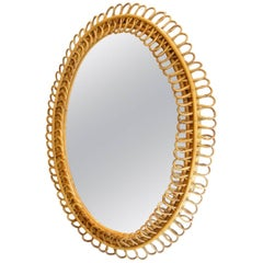 French Midcentury Oval Rattan Wicker Mirror