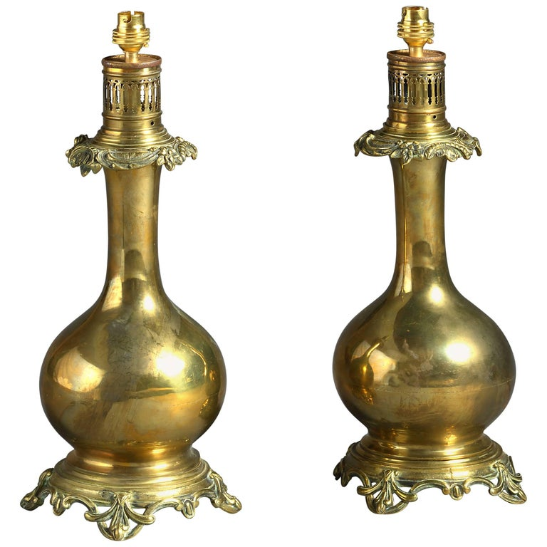 Pair of 19th Century Brass Table Lamps