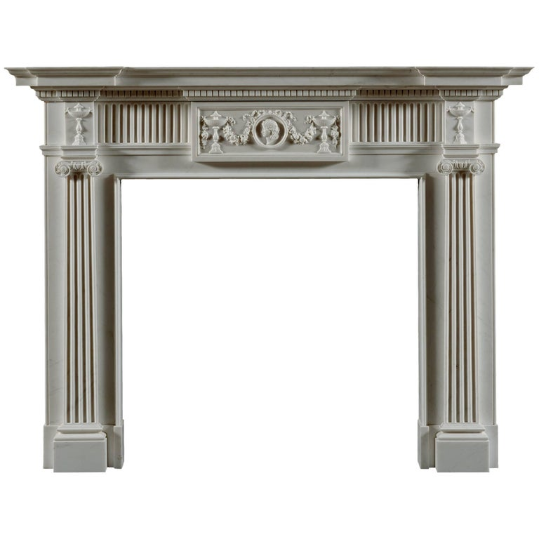 Jamb Seymour Neoclassical Fireplace in White Statuary Marble For Sale