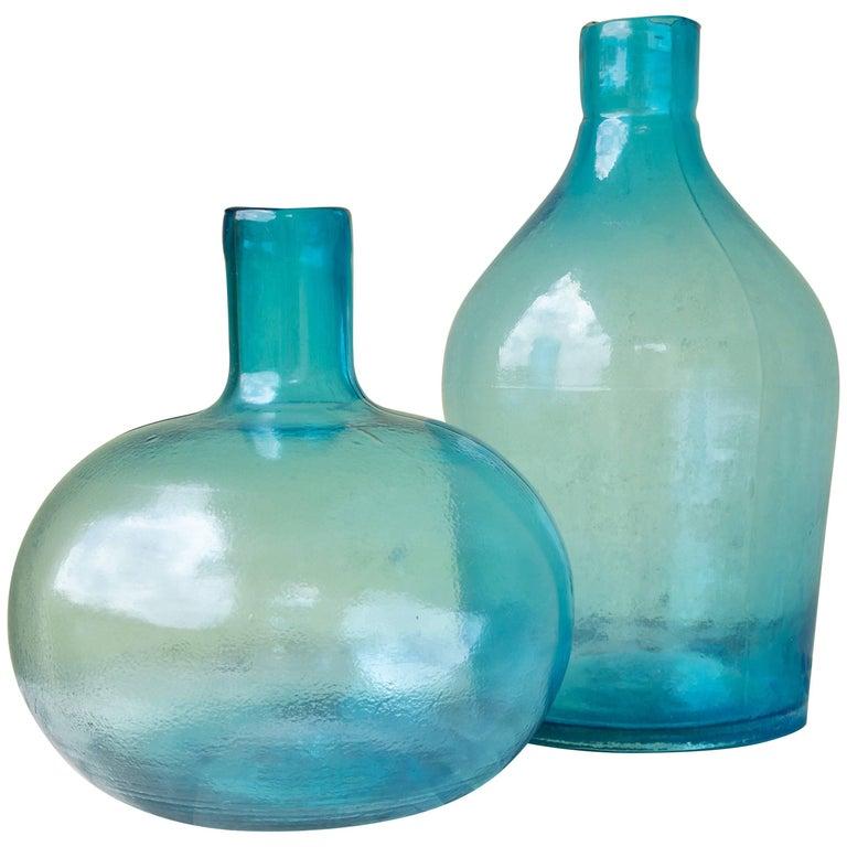 Vintage Japanese Blue Glass Bottles