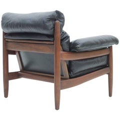 Brazilian Lounge Chair with Black Leather Cushions and Mahogany Wood circa 1960s