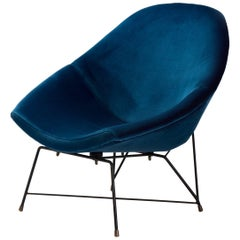 Augusto Bozzi 'Kosmos' Chair for Saporiti in Blue Velvet, Italy, 1956