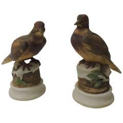 Pair of Vintage Bisque Ceramic Morning Doves Figurines