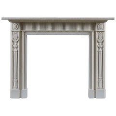 Jamb Berkeley Neoclassical Fireplace in White Statuary Marble