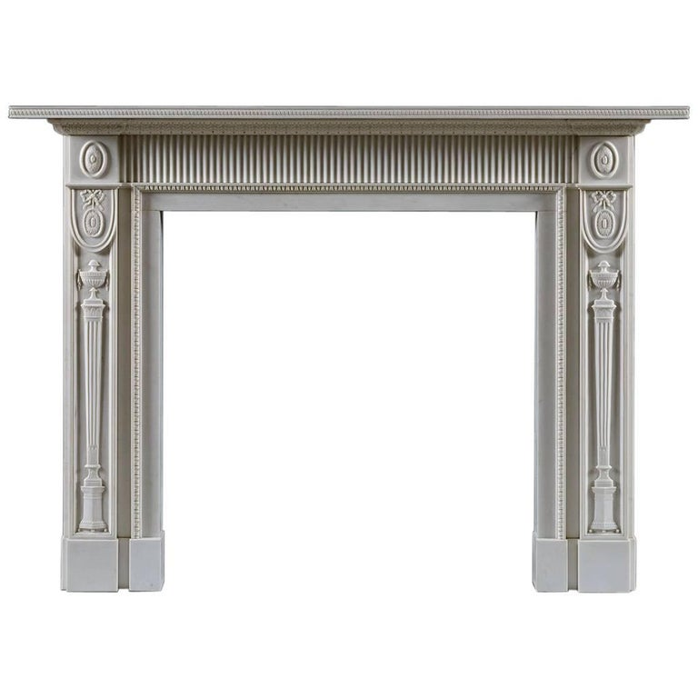 Jamb Berkeley Neoclassical Fireplace in White Statuary Marble For Sale