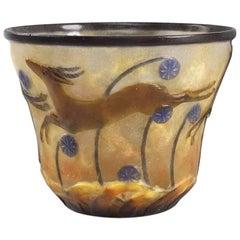 """French """"Gazelle"""" Pâte de Verre Vase by Gabriel Argy-Rousseau"""