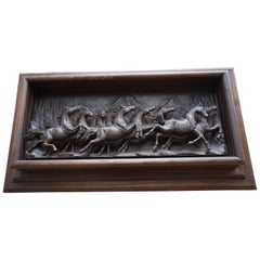 Hand-Carved Wall Plaque with Eight Wild Horses / Horse Sculptures in Deep Relief