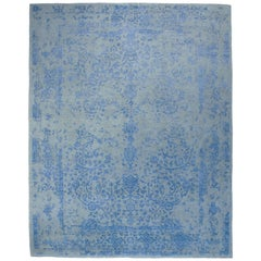 Contemporary Rug Sky Blue, Handwoven in India with Silk Highlights