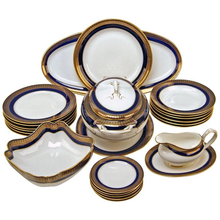 Meissen Art Nouveau Dinner Set Royal Blue Gold Six Persons Hans Hentschel For Sale