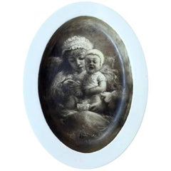 Italian Mother and Child Drawing Graffito on Ceramic Dish by Zennaro 1900 circa