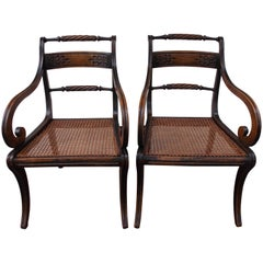 Pair of English Regency Black Lacquered and Cane Seat Armchairs, Circa 1815